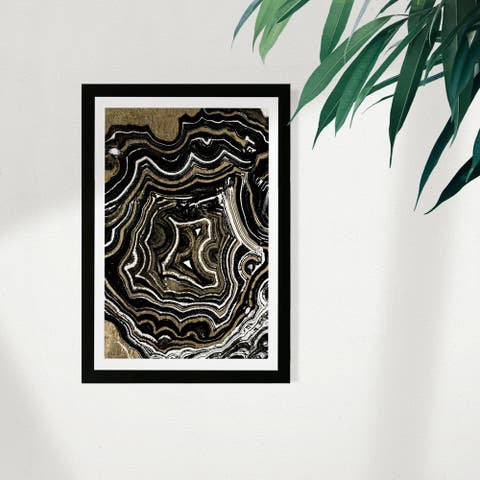 Wynwood Studio Abstract Framed Wall Art Prints 'Agate Black and Gold' Crystals Home Décor - Gold, Black