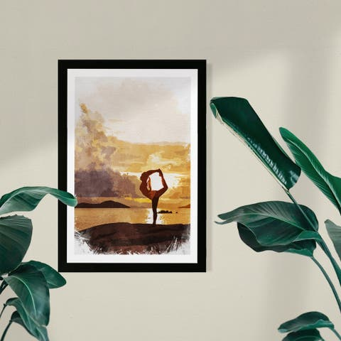 Wynwood Studio Sports and Teams Framed Wall Art Prints 'Ballance' Yoga Home Décor - Yellow, White - 13 x 19