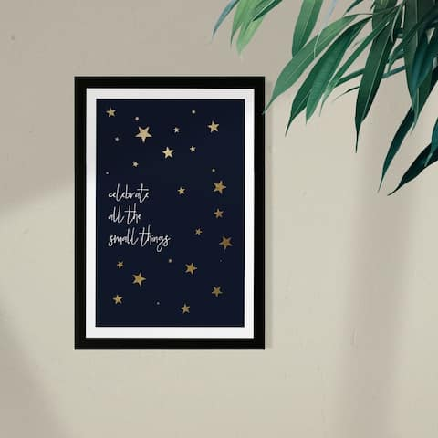 Wynwood Studio Typography and Quotes Framed Wall Art Prints 'Small Things Stars' Inspirational Quotes and Sayings - Blue, Gold
