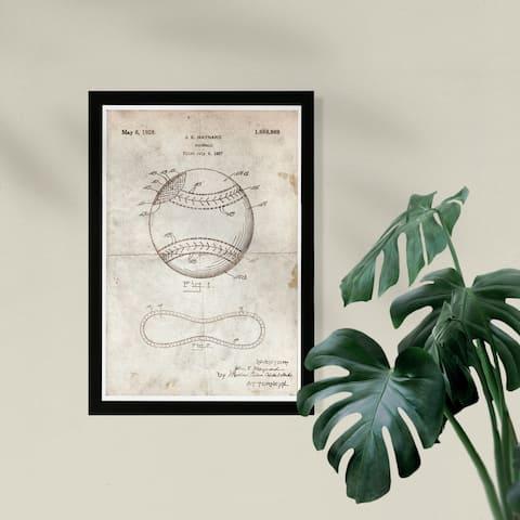 Wynwood Studio Framed Wall Art Prints 'Baseball 1928 Parchment'
