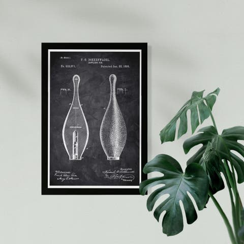 Wynwood Studio Sports and Teams Framed Wall Art Prints 'Bowling Pin 1895 Chalkboard' Bowling Home Décor - Black, White