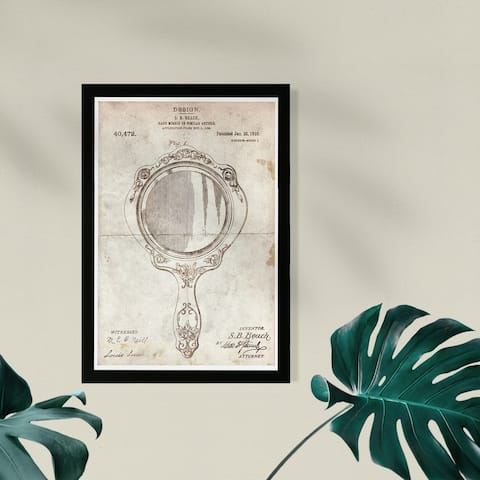 Wynwood Studio Fashion and Glam Framed Wall Art Prints 'Hand Mirror 1910 Parchment' Lifestyle Home Décor - White, Brown