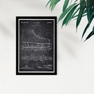 Link to Wynwood Studio Sports and Teams Framed Wall Art Prints 'Ice Skate 1941 Chalkboard' Sports Home Décor - Black, White - 13 x 19 Similar Items in Art Prints