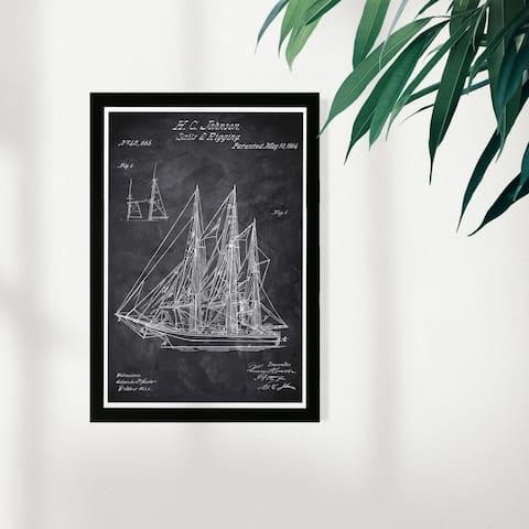 Wynwood Studio Nautical and Coastal Framed Wall Art Prints 'Sail & Rigging 1864 Chalkboard' Nautical Watercrafts - Black, White
