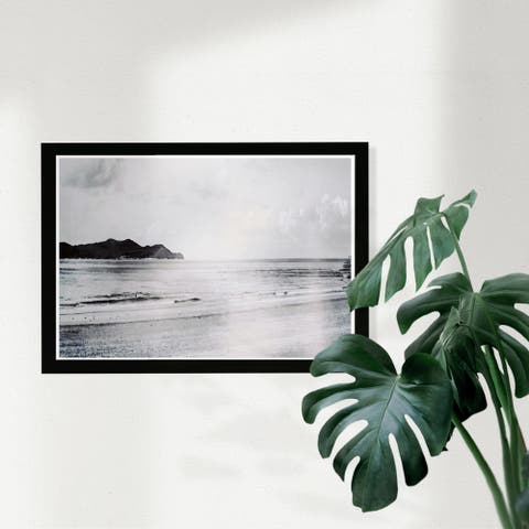 Wynwood Studio Nautical and Coastal Framed Wall Art Prints 'New Beach' Coastal Home Décor - Black, White