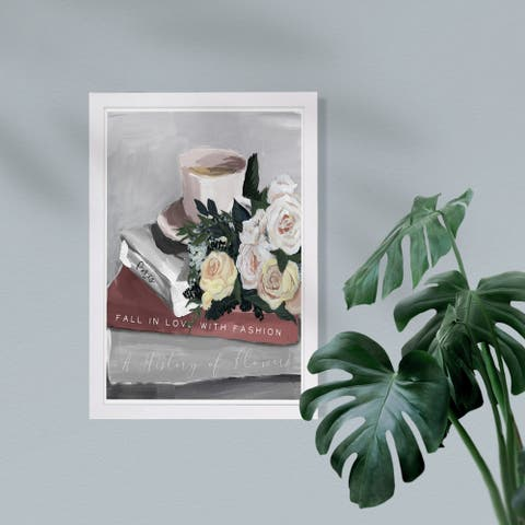 Wynwood Studio Fashion and Glam Framed Wall Art Prints 'Flowers Coffee and Books Blush' Books Home Décor - Gray, White - 13 x 19
