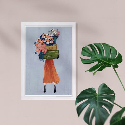 Wynwood Studio Fashion and Glam Framed Wall Art Prints 'The Case of Fall Bouquet' Travel Essentials Home Décor - Gray, Orange