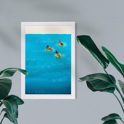 Wynwood Studio Nautical and Coastal Framed Wall Art Prints 'Primary Beach Time' Coastal Home Décor - Blue, Yellow - 13 x 19