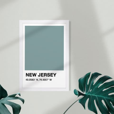 Wynwood Studio Maps and Flags Framed Wall Art Prints 'New Jersey Color Swatch' US States Maps Home Décor - Blue, Black
