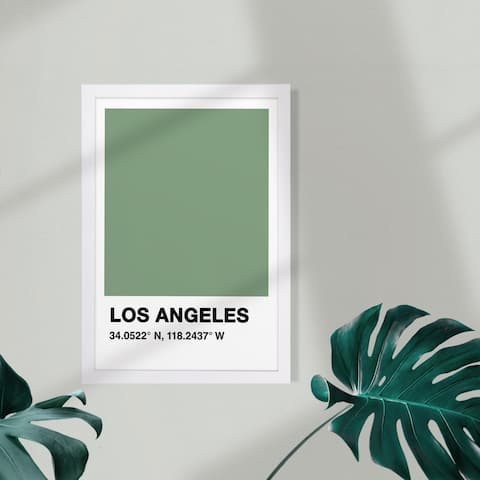 Wynwood Studio Cities and Skylines Framed Wall Art Prints 'LA Color Swatch' United States Cities Home Décor - Green, White