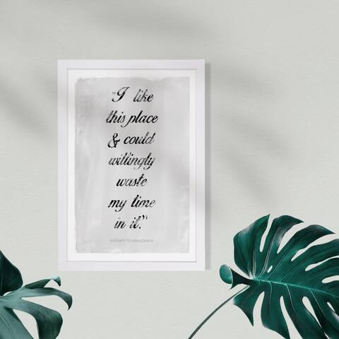Wynwood Studio Typography and Quotes Framed Wall Art Prints 'I Like This Place Shakespeare' Inspirational quotes - Black, White