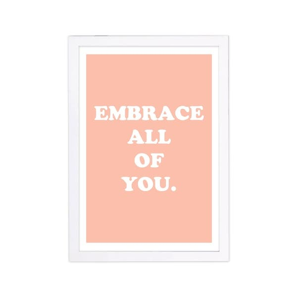 Shop Wynwood Studio Typography And Quotes Framed Wall Art Prints Embrace Beauty Quotes And Sayings Home Decor Orange White On Sale Overstock 30248745