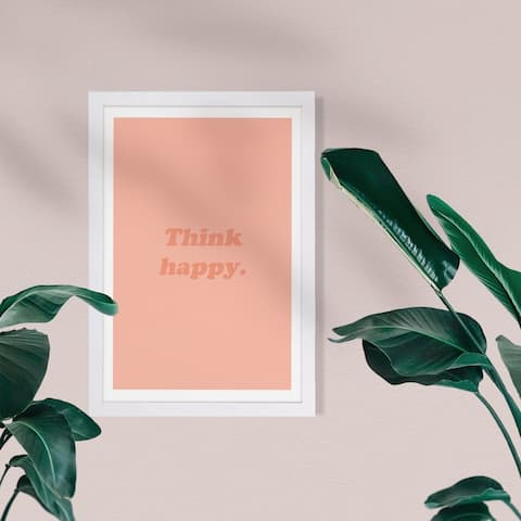 Wynwood Studio Typography and Quotes Framed Wall Art Prints 'Think Happy' Inspirational Quotes and Sayings - Orange, Orange