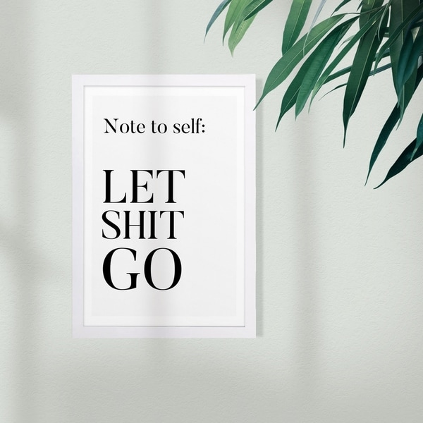 Wynwood Studio Typography and Quotes Framed Wall Art Prints 'Note To Self' Funny Quotes and Sayings Home Décor - Black, White