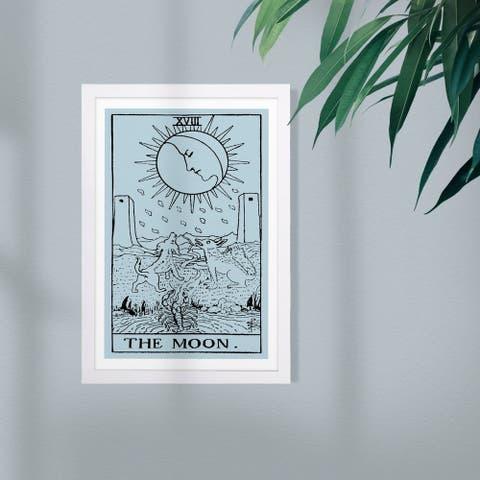 Wynwood Studio Astronomy and Space Framed Wall Art Prints 'The Moon Tarot' Moons Home Décor - Blue, Black - 13 x 19