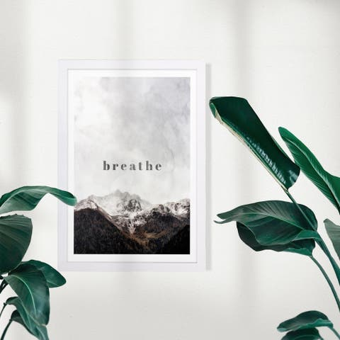 Wynwood Studio Nature and Landscape Framed Wall Art Prints 'Breathe' Mountains Home Décor - Gray, Gray - 13 x 19