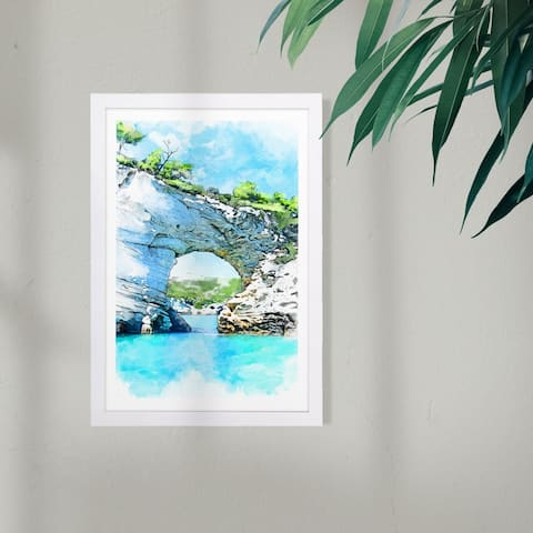Wynwood Studio Nautical and Coastal Framed Wall Art Prints 'Natural Gateway' Coastal Landscapes Home Décor - Blue, Green