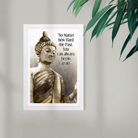Wynwood Studio Typography and Quotes Framed Wall Art Prints 'No Matter How Hard' Motivational Quotes and Sayings - Gold, Black