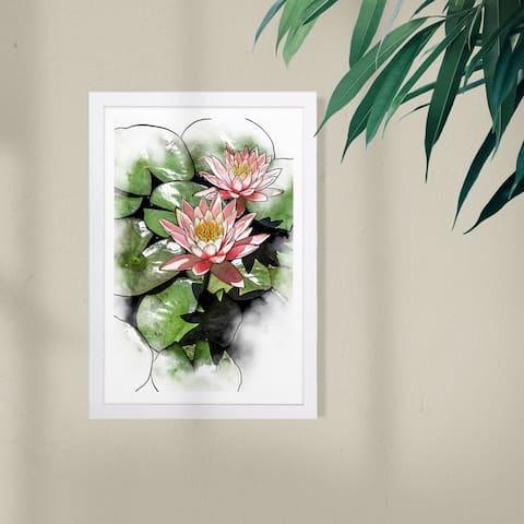 Wynwood Studio Floral and Botanical Framed Wall Art Prints 'Pond of Lotus' Florals Home Décor - Green, Pink