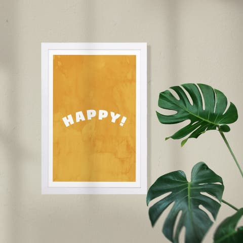 Wynwood Studio Typography and Quotes Framed Wall Art Prints 'Happy and Yellow' Inspirational Quotes and Sayings - Yellow, White