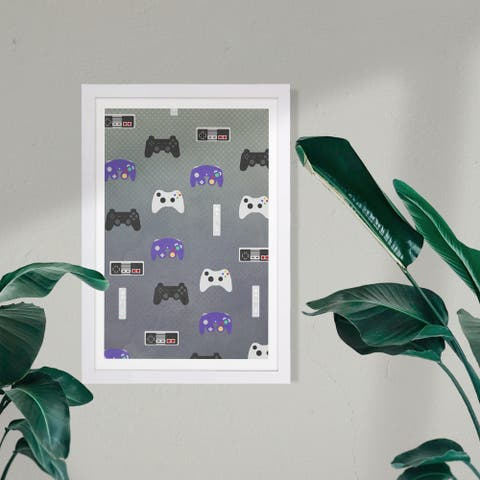Wynwood Studio Entertainment and Hobbies Framed Wall Art Prints 'Game Console Pattern' Video Games Home Décor - Gray, Purple