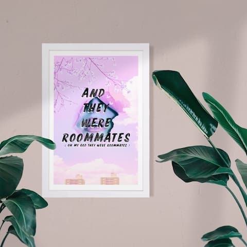 Wynwood Studio Typography and Quotes Framed Wall Art Prints 'And They Were Roommates' Quotes and Sayings - Purple, Black