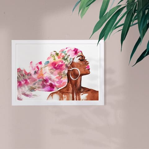 Wynwood Studio Fashion and Glam Framed Wall Art Prints 'Mother Earth Floral' Portraits Home Décor - Pink, Brown
