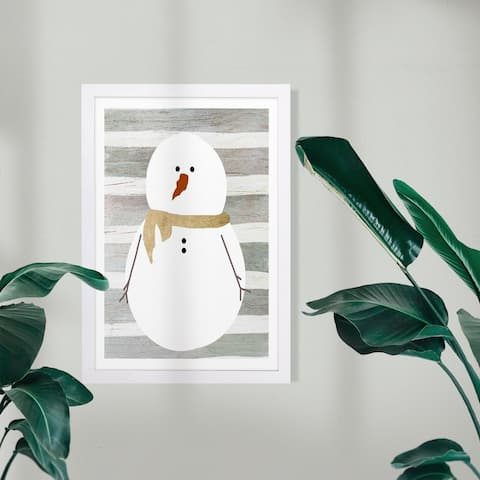 Wynwood Studio Holiday and Seasonal Framed Wall Art Prints 'Snowman' Christmas Home Décor - Gray, Gold - 13 x 19