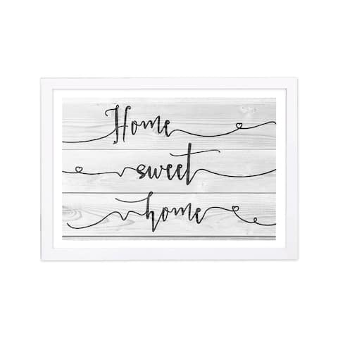 Wynwood Studio Typography and Quotes Framed Wall Art Prints 'Home Sweet Cottage' Family Quotes and Sayings - Black, White