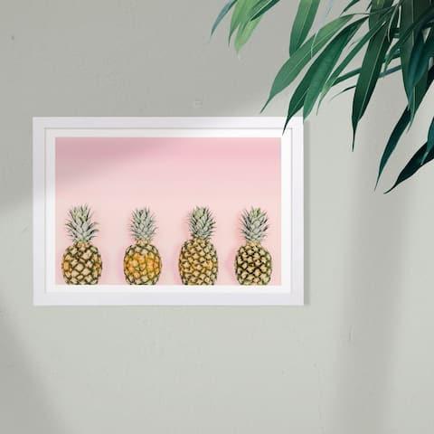 Wynwood Studio Food and Cuisine Framed Wall Art Prints 'Pineapple Love' Fruits Home Décor - Pink, Orange