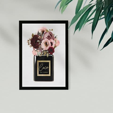 Wynwood Studio Fashion and Glam Framed Wall Art Prints 'Blush Floral Perfume' Perfumes Home Décor - Black, Pink - 13 x 19