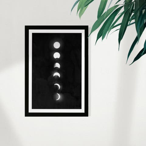 Wynwood Studio Astronomy and Space Framed Wall Art Prints 'Moon Phases' Moons Phases Home Décor - Black, White
