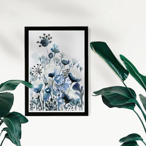 Wynwood Studio Floral and Botanical Framed Wall Art Prints 'Deep Blue Forest' Gardens Home Décor - Blue, White