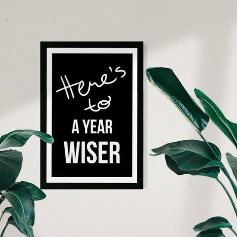 Wynwood Studio Typography and Quotes Framed Wall Art Prints 'A Year Wiser' Funny Quotes and Sayings Home Décor - Black, White