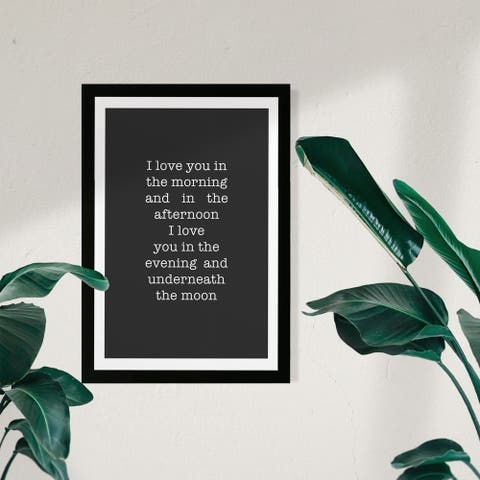 Wynwood Studio Typography and Quotes Framed Wall Art Prints 'underneath the moon' Love Quotes and Sayings - Black, White