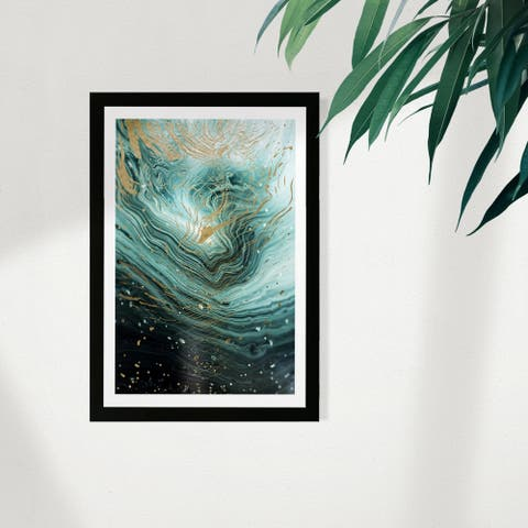 Wynwood Studio Abstract Framed Wall Art Prints 'Agate En Mint' Crystals Home Décor - Green, Gold - 13 x 19