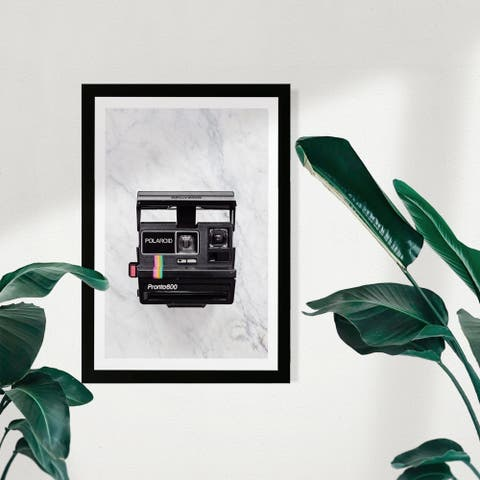 Wynwood Studio Entertainment and Hobbies Framed Wall Art Prints 'Polaroid Marble' Photography Home Décor - Black, White