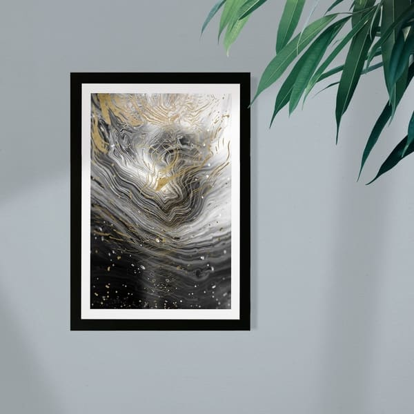 Wynwood Studio Abstract Framed Wall Art Prints Agate En Gray Crystals Home Decor Black Gold Overstock 30249126