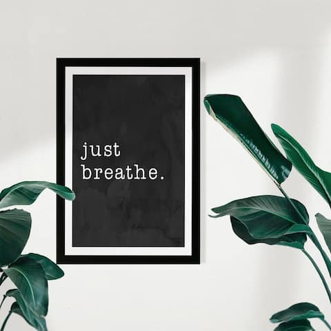 Wynwood Studio Typography and Quotes Framed Wall Art Prints 'Just Breathe' Inspirational Quotes and Sayings - Black, White