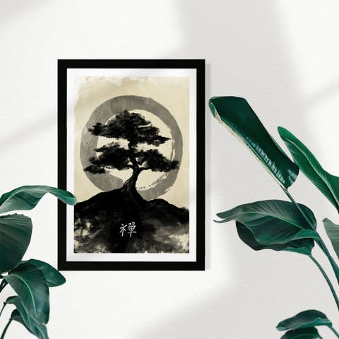 Wynwood Studio World and Countries Framed Wall Art Prints 'Ink Zen' Asian Cultures Home Décor - Black, White - 13 x 19