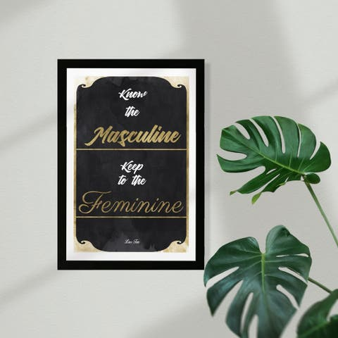 Wynwood Studio Typography and Quotes Framed Wall Art Prints 'Know but keep to' Quotes and Sayings Home Décor - Gold, Black