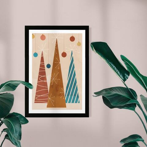 Wynwood Studio Holiday and Seasonal Framed Wall Art Prints 'Modern Holiday' Christmas Home Décor - Brown, Blue - 13 x 19