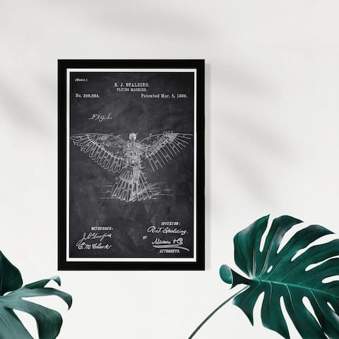 Wynwood Studio Transportation Framed Wall Art Prints 'Flying-Machine 1889 Chalkboard' Air Transportation - Black, White