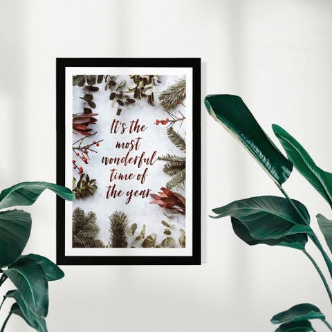 Wynwood Studio Holiday and Seasonal Framed Wall Art Prints 'Wonderful Time' Christmas Home Décor - Red, Green - 13 x 19