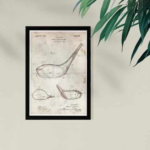 Wynwood Studio Framed Wall Art Prints 'Metallic Golf Club Head 1926 Parchment'
