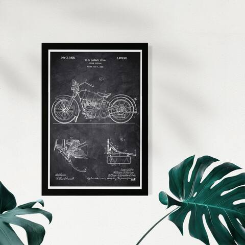 Wynwood Studio Transportation Framed Wall Art Prints 'Harley 1928 Chalkboard' Motorcycles Home Décor - Black, White