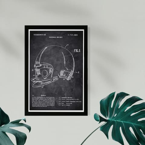 Wynwood Studio Sports and Teams Framed Wall Art Prints 'Football Helmet 1973 Chalkboard' Football Home Décor - Black, White