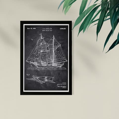 Wynwood Studio Nautical and Coastal Framed Wall Art Prints 'Model Sailing Ship 1954 ' Nautical Watercrafts - Black, White
