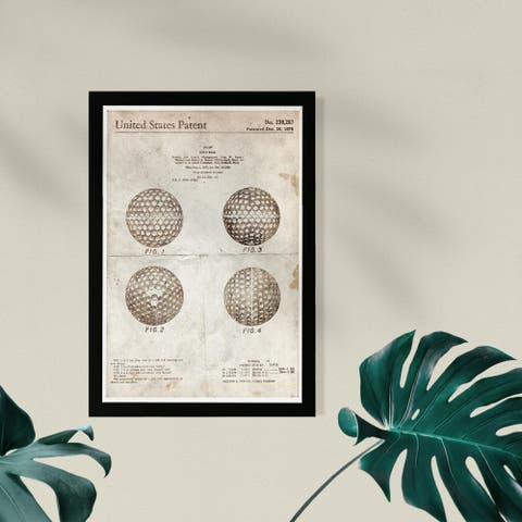 Wynwood Studio Sports and Teams Framed Wall Art Prints 'Golf Ball 1975 Parchment' Golf Home Décor - Brown, Brown - 13 x 19