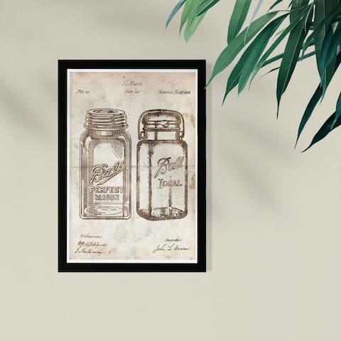 Wynwood Studio Food and Cuisine Framed Wall Art Prints 'Mason Jar - Adapted 1853 - Noir Parchment' Kitchen - Brown, Brown